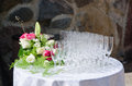 Bouquet Of Flowers And Wine Glasses For A Wedding Royalty Free Stock Photo - 34964575