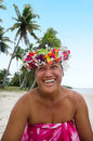 Portrait Of Polynesian Pacific Island Tahitian Mature Woman Aitu Stock Image - 34967721