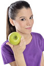 Healthy Lifestyle - Happy Woman Eating An Apple Stock Photography - 34985802