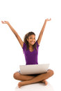 Happy Young Girl With Arms Raised Royalty Free Stock Photography - 34987067