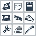 Vector Office Stationery Icons Set Stock Photo - 34988270