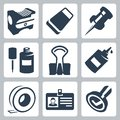 Vector Office Stationery Icons Set Royalty Free Stock Photo - 34988285