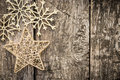 Gold Christmas Tree Decorations On Grunge Wood Stock Photography - 34992272