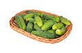 Cucumber Gherkin In A Wattled Basket Royalty Free Stock Images - 35000189