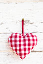 Red Checkered Heart Shape Hanging - Greeting Card - Country Styl Stock Photos - 35002333