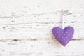 Romantic Dotted Heart Shape Hanging Above White Wooden Surface O Royalty Free Stock Photography - 35002347