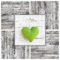 Handmade Green Dotted Heart Shape And Wooden Frame - Handmade - Royalty Free Stock Photos - 35003178