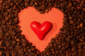 Coffee Beans And Red Heart Royalty Free Stock Image - 35006436