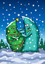 Card With Dancing Christmas Trees Stock Image - 35009181