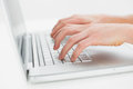 Close Up Of Hands Typing On Laptop Keyboard Stock Photos - 35024953