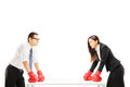 Two Angry Businesspeople With Boxing Gloves Having An Argument Royalty Free Stock Photo - 35027555