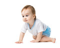 Baby Crawling With Curiosity Stock Image - 35051121