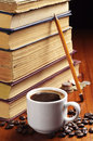 Cup Of Coffee And Old Books Stock Photography - 35052152
