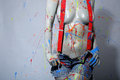 Female House Painter Splattered With Latex Paint Royalty Free Stock Image - 35057536