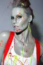 Female House Painter Splattered With Latex Paint Stock Image - 35057541