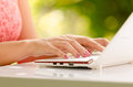 Lady Hands And Laptop Stock Photos - 35060713