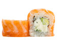 Sushi Roll With Salmon Isolated On White Background Royalty Free Stock Photo - 35070955
