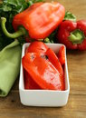 Grilled Red Bell Pepper In A White Bowl Stock Photo - 35071520