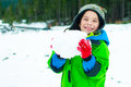 Young Boy Playing In The Snow Stock Images - 35080734