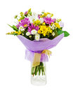 Colorful Bouquet From Gerberas In Glass Vase Isolated On White B Stock Photography - 35085372