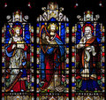 Stained Glass Window Depicting Solomon, David And Hezekiah In Saint Nicholas Church, Arundel, West-Sussex Royalty Free Stock Photo - 35085585