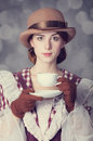 Beautiful Redhead Women With Cup Of Tea. Stock Photos - 35097393