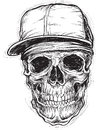 Sketchy Skull With Cap And Bandana Royalty Free Stock Images - 35108439