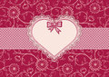 Greetings Card With Heart Frame And Dotted Ribbon Royalty Free Stock Image - 35126726
