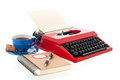 Red Typewriter With Blank Paper Stock Photography - 35130862