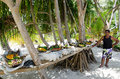 Tropical Food Served Outdoor In Aitutaki Lagoon Cook Islands Stock Photos - 35133913