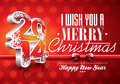 VectorVector Happy New Year 2014 Red Celebration Background With Ribbon Stock Images - 35142014