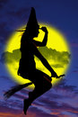 Silhouette Of Witch On Broom Stock Photo - 35164310