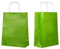 Two Views Of A Green Paper Bags Royalty Free Stock Image - 35167246