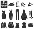 Female Clothing Icons Royalty Free Stock Photo - 35173835