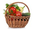 Tomatoes, Cucumbers, Pepper And Greens In Basket Royalty Free Stock Photo - 35174735