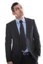 Business: Young Man In Suit Thinking With Hand In Pocket Isolate Royalty Free Stock Image - 35184446