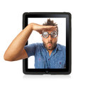 Wow Expression With Tablet Royalty Free Stock Images - 35192719