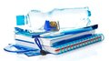 Blue School Accessories With Bottle Of Water Royalty Free Stock Photos - 35202008