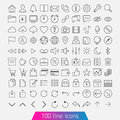 100 Line Icon Set Royalty Free Stock Photography - 35215747