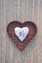 Decorative Cloth Heart In Wicker Basket Royalty Free Stock Image - 35230906