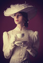 Woman With Cup Of Tea Stock Photos - 35239283