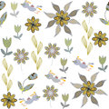 Cute Seamless Pattern With Cartoon Bird And Flower Stock Images - 35245154