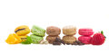 Row  Of Macaroons With Ingredients Royalty Free Stock Image - 35258406