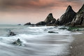 Landscape Seascape Of Jagged And Rugged Rocks On Coastline With Stock Photography - 35282552