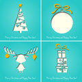 Vector Merry Christmas Paper Greeting Card Royalty Free Stock Image - 35295196