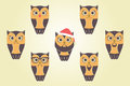 Vector Owls In Red Santa`s Hat. Owls With Mustaches, Beards And Royalty Free Stock Photo - 35297755