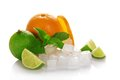 Ripe Orange, Green Lime And Mint Royalty Free Stock Images - 35303769