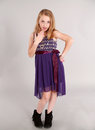 Little Blonde Girl In Party Dress Royalty Free Stock Photos - 35310298