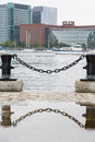 Black Chain With Bollards With Reflection Royalty Free Stock Photo - 35310675