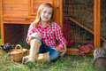 Breeder Hens Kid Girl Rancher Farmer With Chicks In Chicken Coop Stock Photo - 35311560